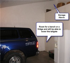 Custom Home Garage Fits Pickup Truck With Ample Room Besides